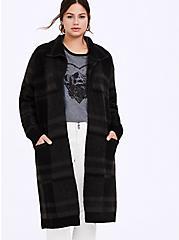 Grey Plaid Longline Cardigan Coat, MULTI, hi-res