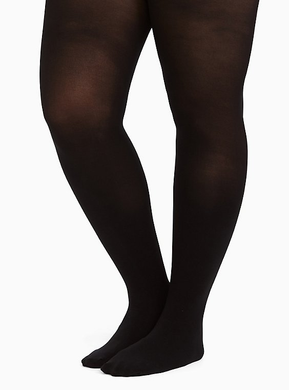 Plus Size Black Opaque Control Tights, , hi-res