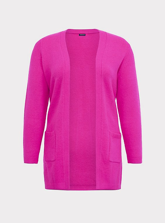 Plus Size Hot Pink Knit Open Front Cardigan, , flat