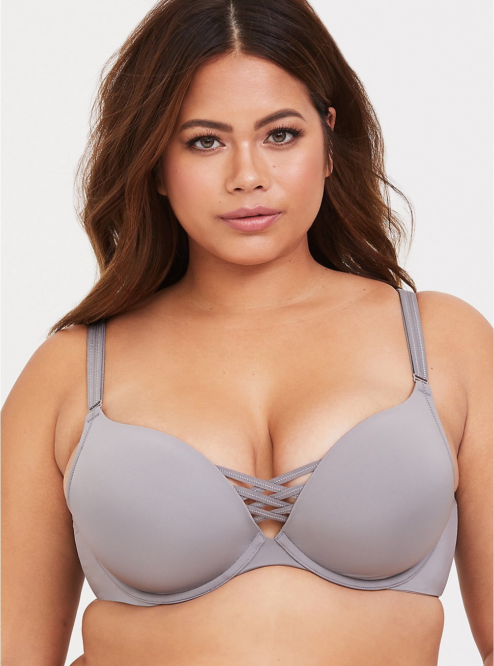 Grey 360° Back Smoothing™ Corset Push-Up Plunge Bra, SILVER FILAGREE, hi-res