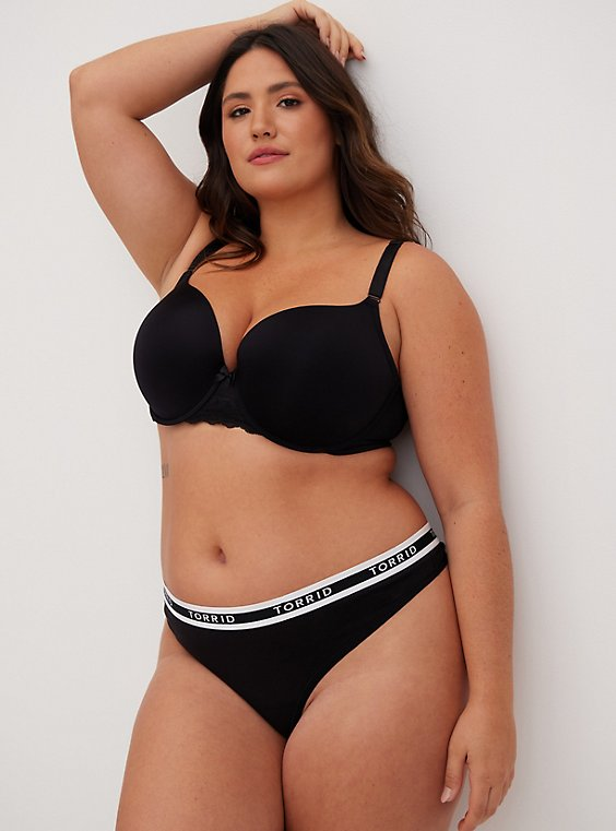 Plus Size Black 360° Back Smoothing™ Push-Up T-Shirt Bra, , hi-res