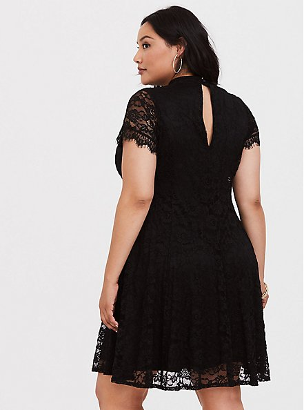 Black Lace High Neck Skater Dress, DEEP BLACK, alternate
