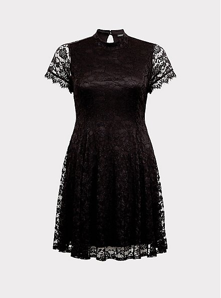 Black Lace High Neck Skater Dress, DEEP BLACK, hi-res