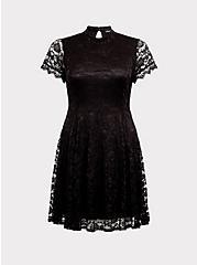 Black Lace High Neck Skater Dress, DEEP BLACK, hi-res