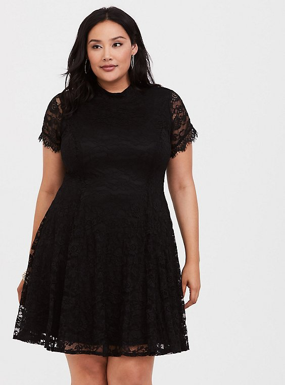Black Lace High Neck Skater Dress, , hi-res