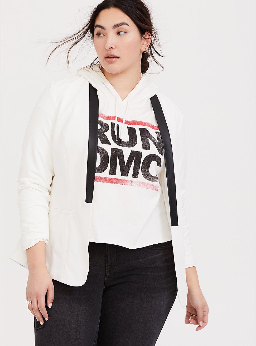 White Faux Leather Trimmed Tuxedo Blazer, CLOUD DANCER, hi-res