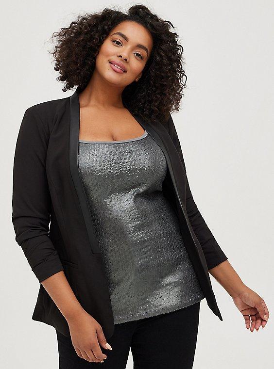 Black Faux Leather Trimmed Blazer, DEEP BLACK, hi-res