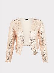 Rose Gold Sequin Blazer, ROSE GOLD, hi-res