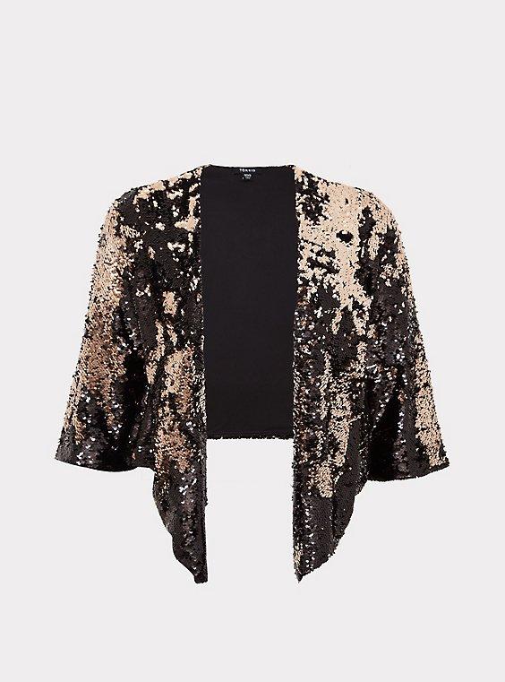 Black Two-Tone Sequin Drape Jacket, , flat