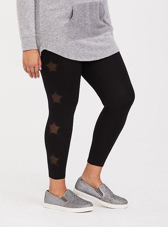Plus Size Premium Legging - Star Mesh Insert Black, , hi-res