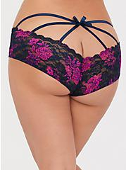 Navy & Pink Floral Lace Cage Back Hipster Panty, STAMPED BUNCH FLORAL, hi-res