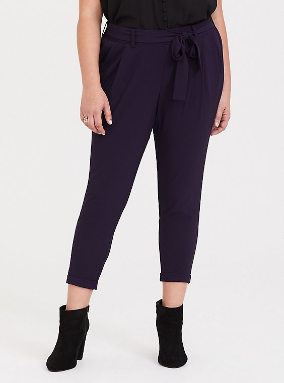 Purple Tie Front Tapered Pant, , hi-res