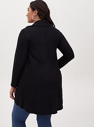 Plus Size Black Hacci Shawl Collar Cardigan, DEEP BLACK, alternate