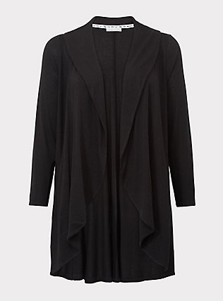 Plus Size Black Hacci Shawl Collar Cardigan, DEEP BLACK, flat