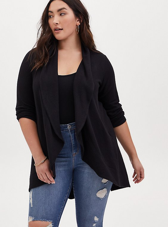 Black Hacci Shawl Collar Cardigan, , hi-res