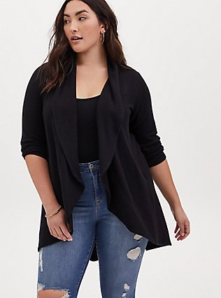 Plus Size Black Hacci Shawl Collar Cardigan, DEEP BLACK, hi-res