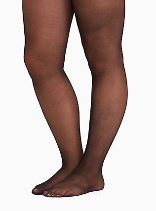 Plus Size Black Sheer Tights, BLACK, hi-res