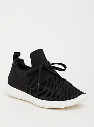 Plus Size Black Nylon Mesh Sneaker (WW), BLACK, hi-res
