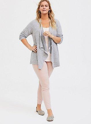 Super Soft Plush Grey Drape Cardigan, GREY, alternate
