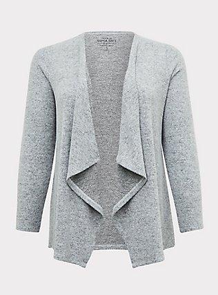 Super Soft Plush Grey Drape Cardigan, GREY, flat