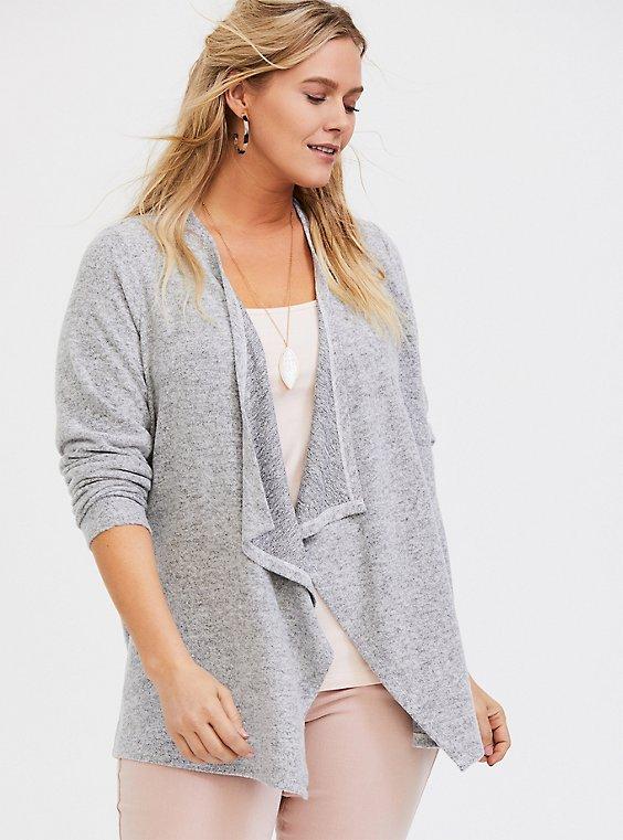 Super Soft Plush Grey Drape Cardigan, , hi-res