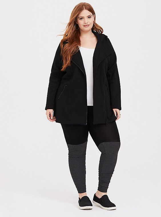 Plus Size Black Fleece Jacket, , hi-res