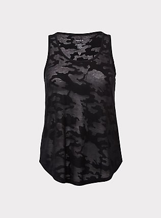 Black Camo Burnout Active Tank, CAMO, flat