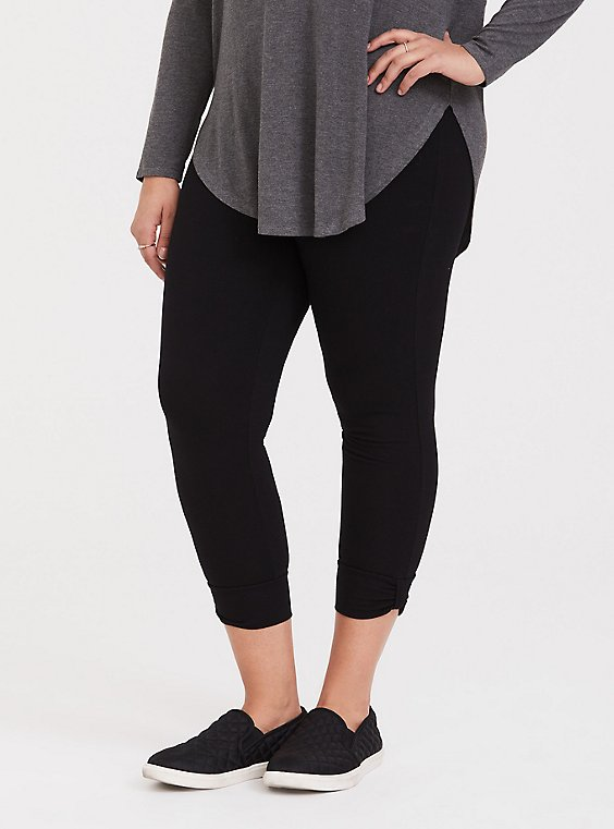 Plus Size Crop Premium Legging - Cuffed Black, , hi-res