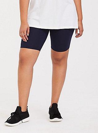 Plus Size Navy Bike Short, BLUE, hi-res