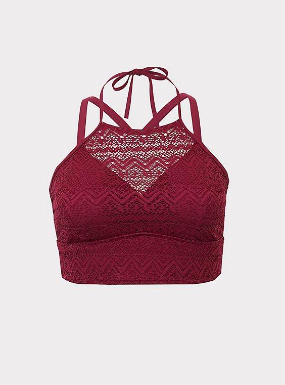 Burgundy crochet bikini set