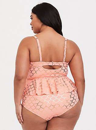 Plus Size Peach Pink & Rose Gold Mermaid Tie Front Underwire Peplum Midkini Top, CORAL, alternate