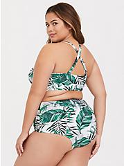 Plus Size White Palm Wireless Triangle Bikini Top, MULTI, alternate