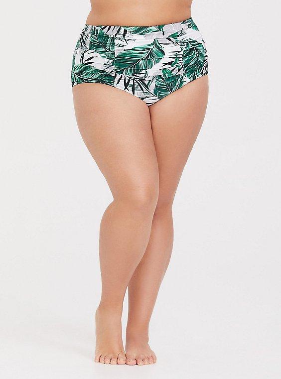 White Palm High Waist Cheeky Swim Bottom, , hi-res