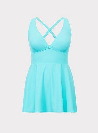 Aqua Wireless One-Piece Swim Dress, MINT, flat
