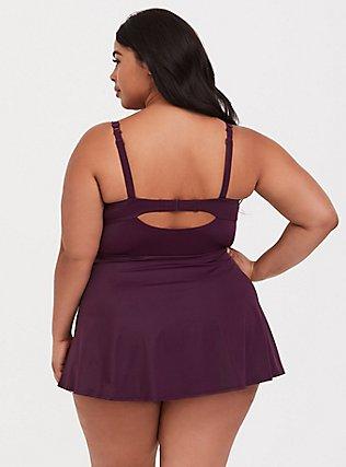 Grape Purple Push-Up Demi Skater Swim Dress, PURPLE, alternate