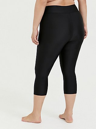Plus Size Black Crop Swim Legging, DEEP BLACK, alternate