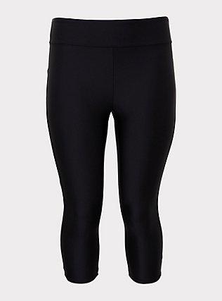 Plus Size Black Crop Swim Legging, DEEP BLACK, flat