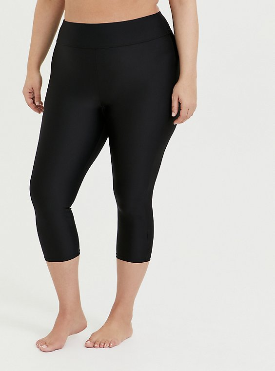 Plus Size Black Crop Swim Legging, , hi-res