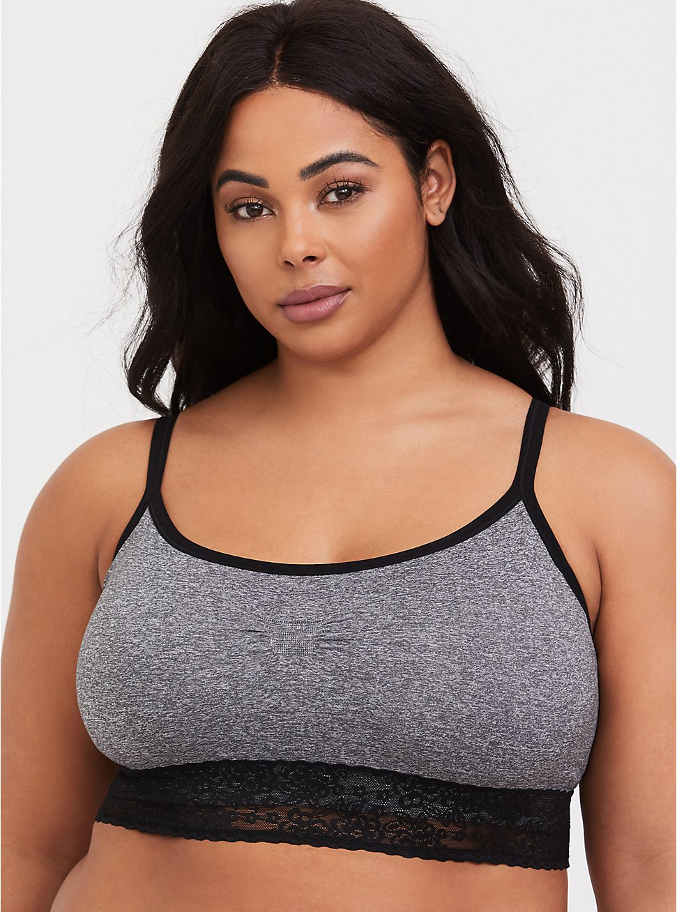 Plus Size Heather Grey Seamless Lightly Padded Bralette, HEATHER GREY, hi-res