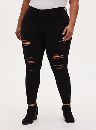 Sky High Skinny Jean - Premium Stretch Black, BLACK, hi-res