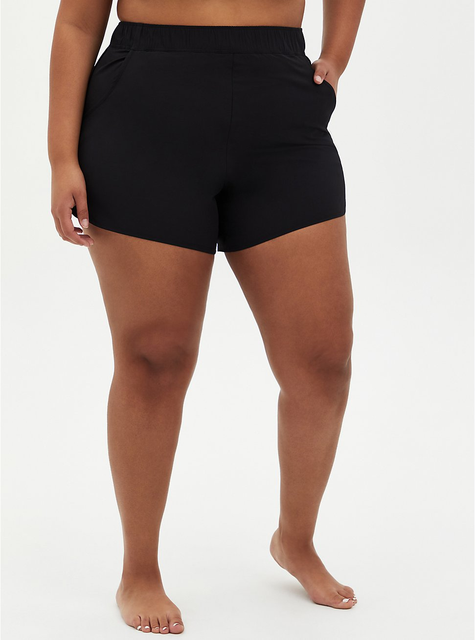 Black Dolphin Hem Swim Boardshort, DEEP BLACK, hi-res