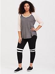 Plus Size Premium Legging - Varsity Stripe Black, BLACK, alternate