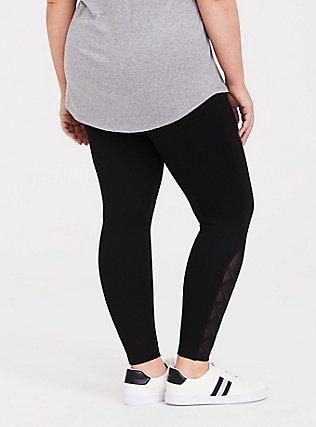Black Ponte Lattice Luxe Legging, DEEP BLACK, alternate