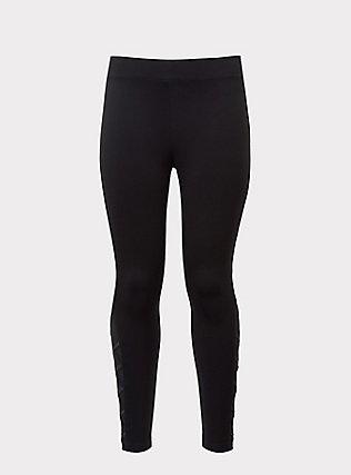 Black Ponte Lattice Luxe Legging, DEEP BLACK, flat