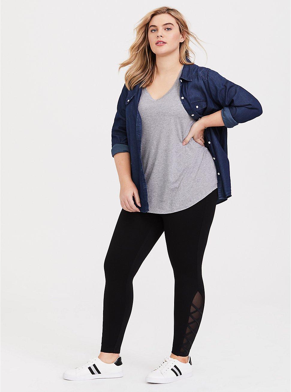 Plus Size Black Ponte Lattice Luxe Legging, DEEP BLACK, hi-res