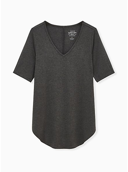 Plus Size Favorite Tunic Tee - Super Soft Dark Grey , HEATHER GREY, hi-res