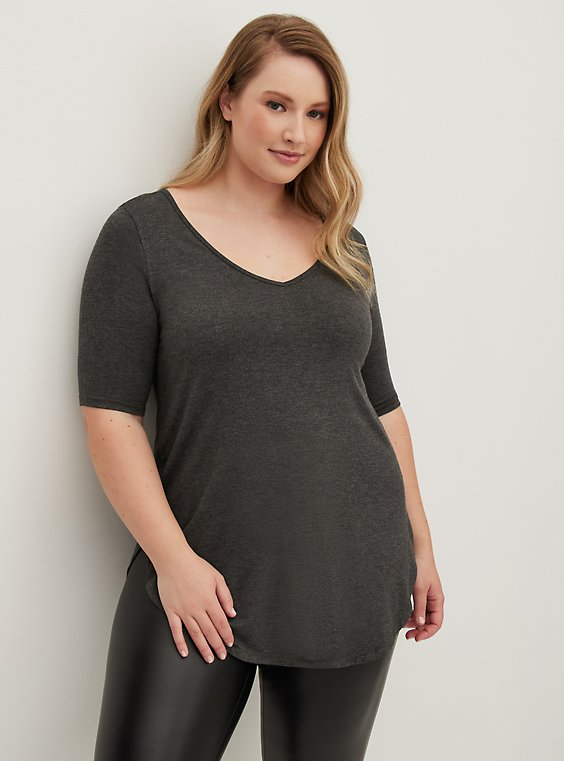Plus Size Super Soft Dark Grey Favorite Tunic Tee, , hi-res