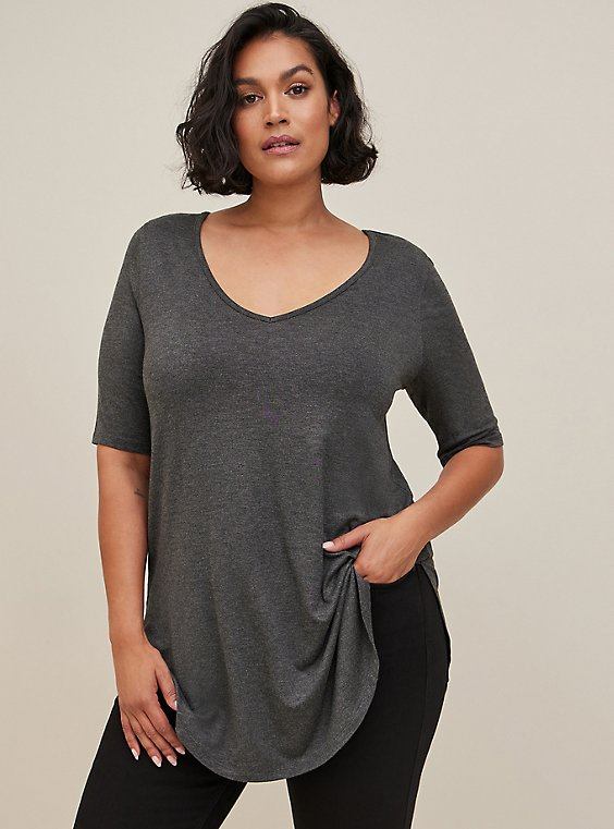 Plus Size Favorite Tunic - Super Soft Dark Grey , HEATHER GREY, hi-res