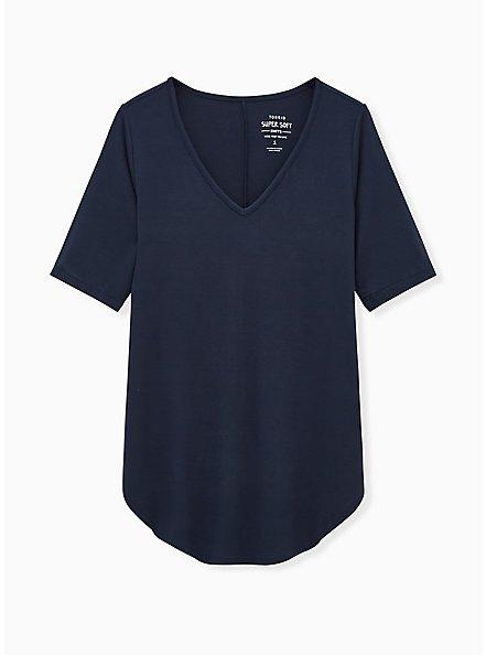 Plus Size Super Soft Navy Blue Favorite Tunic Tee, VIVID BLUE, hi-res