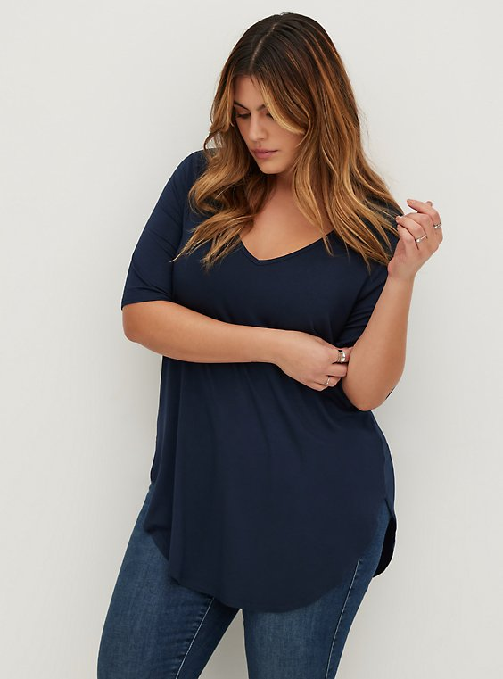 Plus Size Super Soft Navy Blue Favorite Tunic Tee, , hi-res
